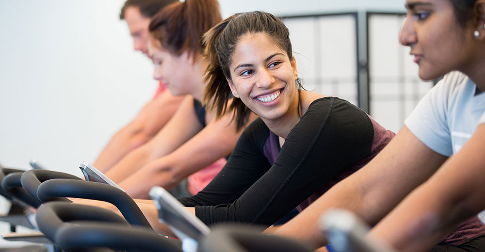 girl in fitness class, spin class