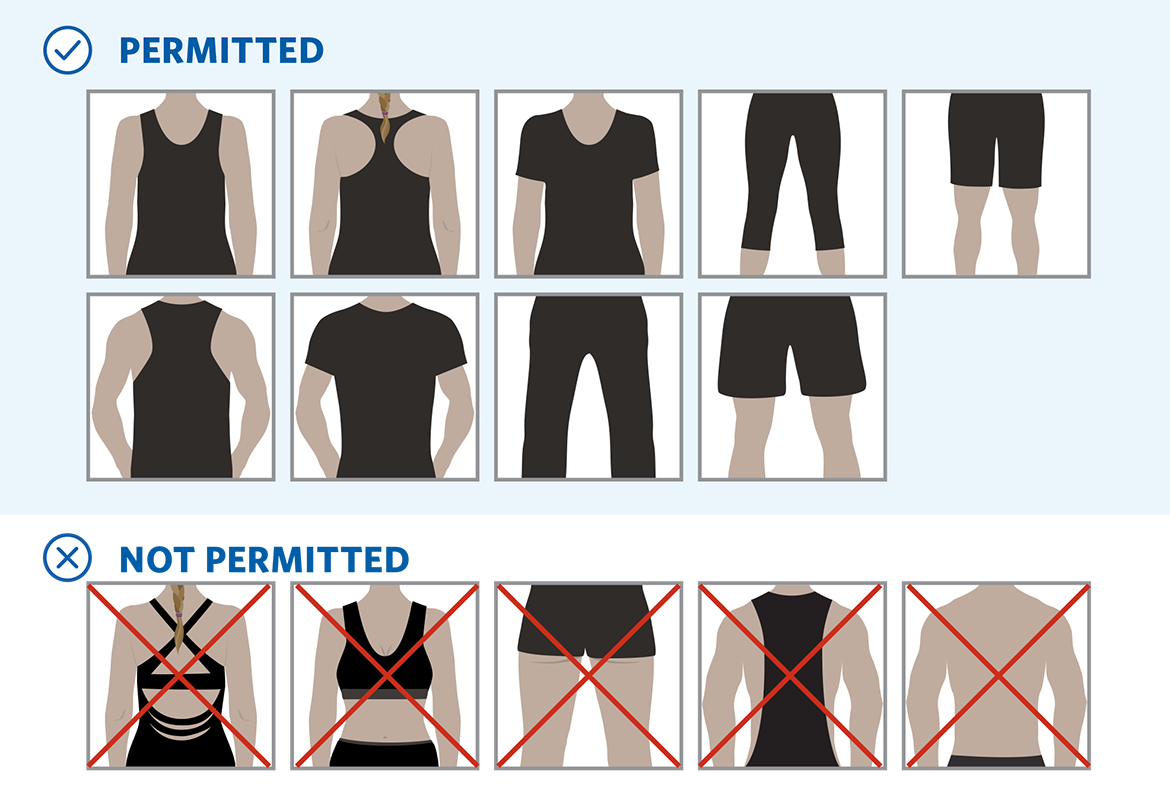 The Hangar dress code graphic, permitted, not permitted, examples