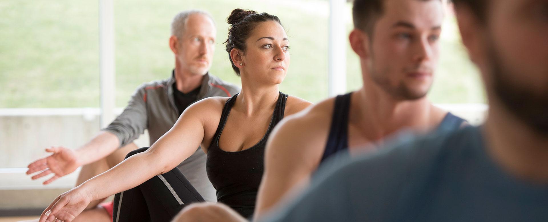 yoga, fitness class, hangar facility